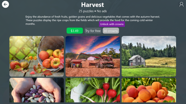 Unlock with crowns Harvest puzzle pack in Jigsaw Puzzle Frenzy