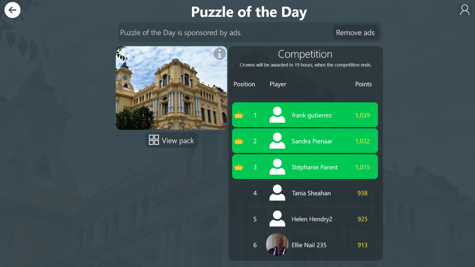 Get in the top 3 in the Puzzle of the Day competition to earn crowns